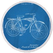 1939 Schwinn Bicycle Blueprint Patent Print Round Beach Towel