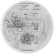 1942 John Deere Tractor Gray Patent Print Round Beach Towel