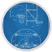 1944 Basketball Goal Blueprint Patent Print Round Beach Towel