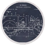 1946 Road Roller Blackboar Patent Print Round Beach Towel