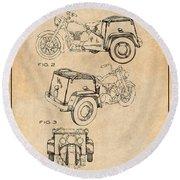1952 3 Three Wheel Motorcycle Antique Paper Patent Print Round Beach Towel