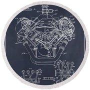1954 Chrysler 426 Hemi V8 Engine Blackboard Patent Print Round Beach Towel