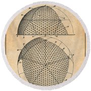 1954 Geodesic Dome Antique Paper Patent Print Round Beach Towel