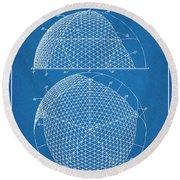 1954 Geodesic Dome Blueprint Patent Print Round Beach Towel