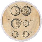 1954 Wiffle Ball Patent Print Antique Paper Round Beach Towel