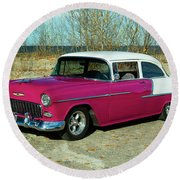 1955 Chevrolet 150  Round Beach Towel