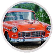 1955 Chevrolet Bel Air Nomad Round Beach Towel