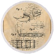 1960 Bombardier Snowmobile Antique Paper Patent Print Round Beach Towel