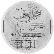 1960 Bombardier Snowmobile Gray Patent Print Round Beach Towel