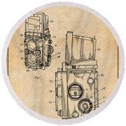 1960 Rolleiflex Photographic Camera Antique Paper Patent Print Round Beach Towel
