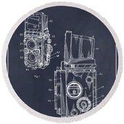 1960 Rolleiflex Photographic Camera Blackboard Patent Print Round Beach Towel