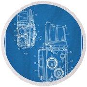 1960 Rolleiflex Photographic Camera Blueprint Patent Print Round Beach Towel