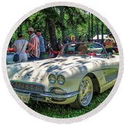 1961 Chevrolet Corvette 002 Round Beach Towel