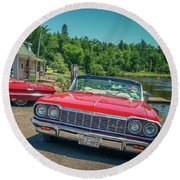 1964 And 1963 Chevrolet Impala Convertibles Round Beach Towel