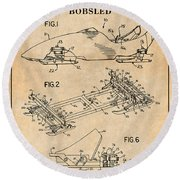 1982 Bobsled Antique Paper Patent Print  Round Beach Towel