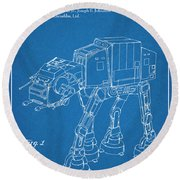 1982 Star Wars At-at Imperial Walker Blueprint Patent Print Round Beach Towel