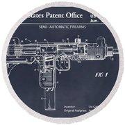 1982 Uzi Submachine Gun Blackboard Patent Print Round Beach Towel