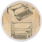 1983 Steve Jobs Apple Personal Computer Antique Paper Patent Print Round Beach Towel