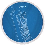 1988 Motorola Cell Phone Blueprint Patent Print Round Beach Towel