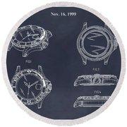 1999 Rolex Diving Watch Patent Print Blackboard Round Beach Towel