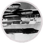 1x15 Rocket Plane Launched From The B52 Carrying It, 1962 Round Beach Towel