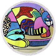 A Cat Named Picasso Round Beach Towel by Anthony Falbo