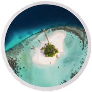 Aerial Drone View Of A Tropical Island, Maldives Round Beach Towel