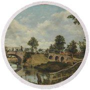 An Old Bridge At Hendon  Middlesex  Round Beach Towel