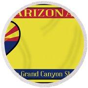 Arizona State License Plate Round Beach Towel