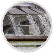Arthur J. Will Memorial Fountain At Grand Park Round Beach Towel