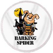 Barking Spider Halloween Design For Dog Lovers Light Round Beach Towel