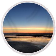 Beach Sunset, Blackpool, Uk 09/2017 Round Beach Towel