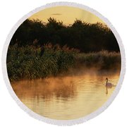 Beautiful Dawn Landscape Image Of River Thames At Lechlade-on-th Round Beach Towel
