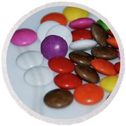 Chocolate Beans Round Beach Towel by Jenny Potter
