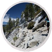 Cyclist On Mountain Road, Lake Tahoe Round Beach Towel