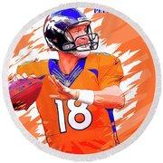 Denver Broncos.peyton Manning. Round Beach Towel