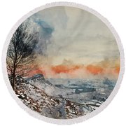 Digital Watercolor Painting Of Beautiful Winter Landscape At Vib Round Beach Towel