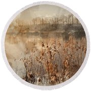Digital Watercolor Painting Of Landscape Of Lake In Mist With Su Round Beach Towel