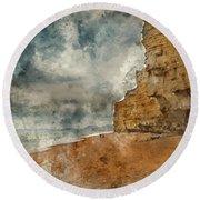 Digital Watercolour Painting Of Beautiful Vibrant Sunset Landsca Round Beach Towel