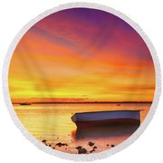 Fishing Boat At Sunset Time Round Beach Towel