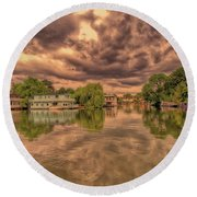 Further Down The River Round Beach Towel
