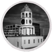 Halifax Town Clock 2017 Black  And White Round Beach Towel
