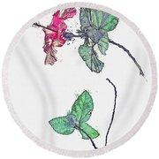 Hibiscus 2 -  Watercolor By Ahmet Asar Round Beach Towel
