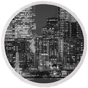Illuminated City At Night, Seattle Round Beach Towel