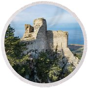 Kantara Castle, Cyprus Round Beach Towel