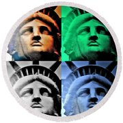 Lady Liberty In Quad Colors Round Beach Towel