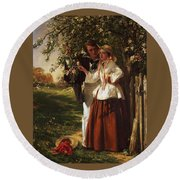 Lovers Under A Blossom Tree Round Beach Towel
