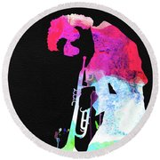 Miles Watercolor Round Beach Towel