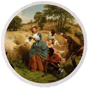 Mrs  Schuyler Burning Her Wheat Fields On The Approach Of The British  Round Beach Towel