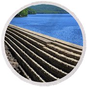 New Croton Dam At Croton On Hudson New York Round Beach Towel